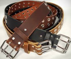 double hole leather belt with grommets