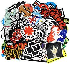 Amazon Com Waterproof Rock Music Stickers Pack 100pcs For Guitar Laptops Water Bottles Cars Travel Case Skateboard Luggage Vintage Vinyl Sticker And Decals Pack Arts Crafts Sewing