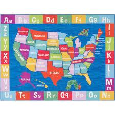 Eric Carle Elementary Usa Map Kids Area Rug Walmart Com Walmart Com