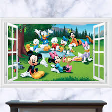 Removable Mickey Mouse 3d Window View Decal Wall Sticker Home Art Mural Kids Cartoon Art Wallpaper Wall Stickers Aliexpress