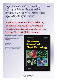 PDF) Impact of abiotic stresses on the protection efficacy of defence  elicitors and on metabolic regulation in tomato leaves infected by Botrytis  cinerea