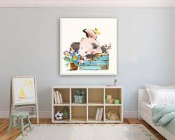 Cute Little Piggy Nursery Canvas Art Baby Decor Kids Room Wall Etsy