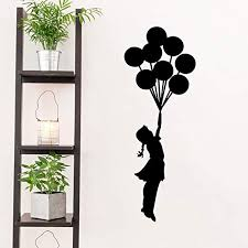 Amazon Com Wall Decals For Girls Bedroom Banksy Girl With Balloon Street Graffiti Art Wall Stickers Front Door Home Decor Decal Black Quotes Letter Window Glass Vinyl Tile Fashion Cool Funny Sticker Removable