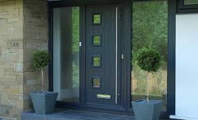 composite front door with large glass