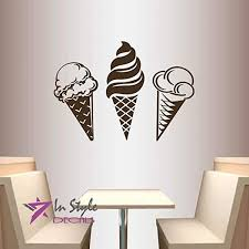 Amazon Com Wall Vinyl Decal Home Decor Art Sticker Sorts Of Ice Cream Kitchen Cafe Room Removable Stylish Mural Unique Design Home Kitchen