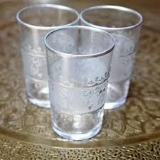 set of six moroccan tea glasses silver