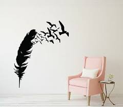 Feather Wall Decals Flying Birds Feathers Silhouette Art Mural Vinyl Sticker Hom Ebay