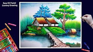beautiful scenery drawing art with oil