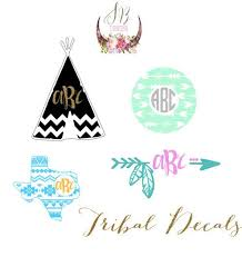 Aztec Monogram Decal Tribal Personalized Decal Tribal Aztec Sticker Monogram Decal Monogram Vinyl Decal Vinyl Crafts
