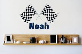 Personalized Name Vinyl Decal Sticker Custom Initial Wall Art Checkered Racing Flag Boy Decor 22 Inches X 24 Inches Walmart Com Walmart Com