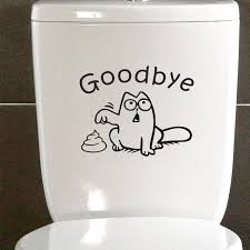 Funny Cat Toilet Seat Wall Decal Goodbye Sticker For Bathroom Free Shipping Wall Stickers Art