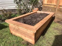 cedar wood raised vegetable planter box