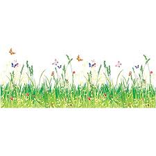 Amazon Com Home Find Baseboard Wall Decals Grass And Butterflies Wall Decor Flowers Stickers Spring Coming Flower Border Decals Removable Diy Murals Home Decor 39 Inches X 15 Inches Arts Crafts Sewing