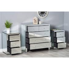 mirrored glass chest of drawer