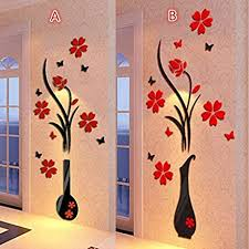 Amazon Com Diy Vase Flower Tree Crystal Arcylic 3d Wall Stickers Decal Home Decor Home Decals For Wall Tile Black Arts Crafts Sewing