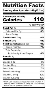 potato nutrition info label data