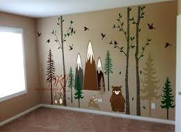 Pine Tree Wall Decal Forest Nursery Decals Woodland Birch Etsy