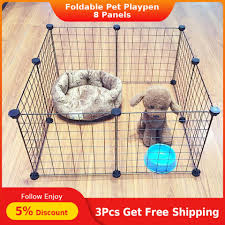 8 Panels Small Animal Fence Metal Wire Yard Foldable Pet Playpen Rabbit Cat Fence Cage Dog Puppy Kennel Crate Lazada Ph