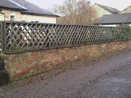 Rustic Chunky Trellis On Top Of Brick Wall Outdoor Trellis Fence Garden Inspiration