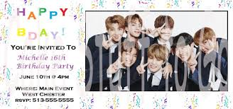 New Bts Bangtan Boys Birthday Invitations Bts Kpop Bangtanboys