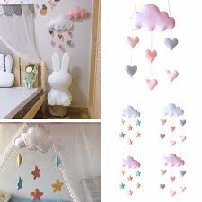 Ceiling Mobile Hanging Cloud Decorations Star Heart Garland For Kids Room Baby Shower Raindrop Wall Hanging Decor Gift Wall Stickers Aliexpress