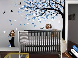 Large Wall Tattoo Modern Baby Nursery Corner Trees Wall Decal With Flying Birds Squirrels And Leaves Wall Stickers Jw214 Tree Wall Decal Wall Decalswall Sticker Aliexpress