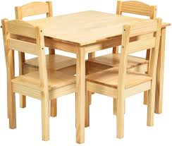 Amazon Com Costzon Kids Wooden Table And 4 Chair Set 5 Pieces Set Includes 4 Chairs And 1 Activity Table Toddler Table For 3 7 Years Playroom Furniture Picnic Table W Chairs Dining Table Set