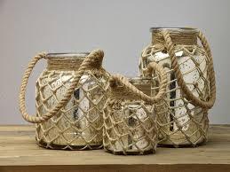mercury glass jar with rope handle