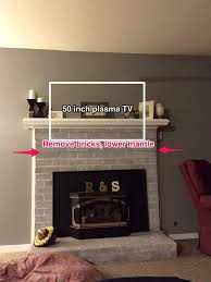 remove some brick lower mantle for tv