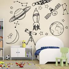 Waliicorners Diy Wall Stickers For Kid Room Astronomy Tool Space Astronomy School Deocr Mural Vinyl Decal Removable Nursery Wall Decals La888 Waliicorner S Store
