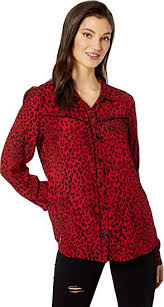 Buy Sanctuary Joni West Shirt Red Leopard XS (US 2) at Amazon.in