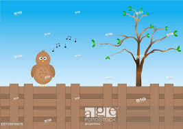 Cartoon Bird Singing On Garden Fence With Tree Stock Photo Picture And Low Budget Royalty Free Image Pic Esy 038104215 Agefotostock