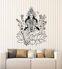 Vinyl Wall Decal Indian Goddess Hinduism Lotus Om Meditation Stickers Wallstickers4you