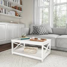 white wooden coffee table with