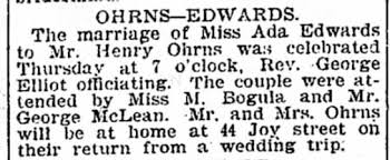 Henry Ohrns and Ada Edwards married Detroit Free Press, Detroit MI 8 Mar  1903 Sun - Newspapers.com