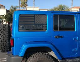 2 Door Jeep Hardtop Flag Decal Usa American Wrangler Jk Window Hs9