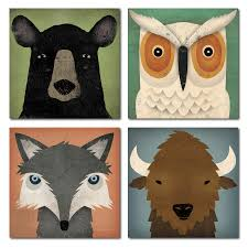 Adorable Fox Black Bear Owl And Bison Woodland Forrest Animals By Ryan Fowler Children S Room Decor Four 8x8in Paper Poster Prints Walmart Com Walmart Com