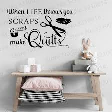 Life Throws Scraps Make Quilts Sewing Wall Sticker Tailor Crafter Quilting Inspirational Quote Wall Decal Vinyl Home Decor Pw310 Leather Bag