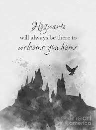 hogwarts quote black and white art print by my inspiration