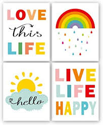 com colorful rainbow and sunshine quotes art print set of