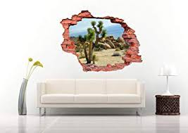 Amazon Com 3d Colorful Cactus And Stones In The Desert Wall Decal Vinyl Sticker Decor For Home Bedroom Children Baby