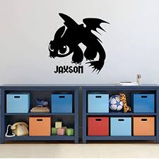 Amazon Com Personalized Toothless Dragon Vinyl Wall Decal Home Decor For Children S Bedroom Or Playroom Small Large Sizes Black White Gray Pink Purple Other Colors Handmade