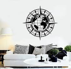 Vinyl Wall Decal Map Of World Compass Travel Globe Earth Stickers 1442ig Ebay
