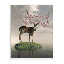 Shop Stupell Industries Deer Tree Island Abstract Animal Design Wood Wall Art Overstock 30500766