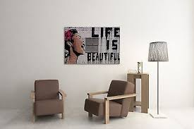 Buy Cheap Banksy Life Is Beautiful Gallery Wrapped Canvas Bonus Banksy Wall Decal Best Buy