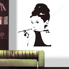 Classic Audrey Hepburn Pipe Sticker Black High Quality Large Vinyl Wall Stickers Decal Home Decor Wallpaper Mural Decor Wallpaper Vinyl Wallvinyl Wall Stickers Aliexpress