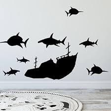 Shop Create A Mural Boys Wall Decals Vinyl Sunken Ship Shark Wall Decals Wall Vinyl Overstock 17979366