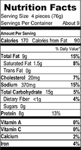 en nuggets nutrition facts