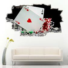 Wall Decal Casino Poker Playing Cards Risk Gun Aces Player Chips Vinyl Ed641