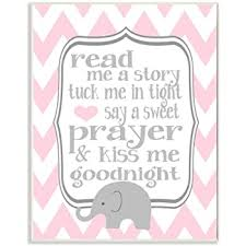 Amazon Com The Kids Room By Stupell Art Wall Plaque Read Me A Story Elephant In Pink Chevron 11 X 0 5 X 15 Proudly Made In Usa Baby